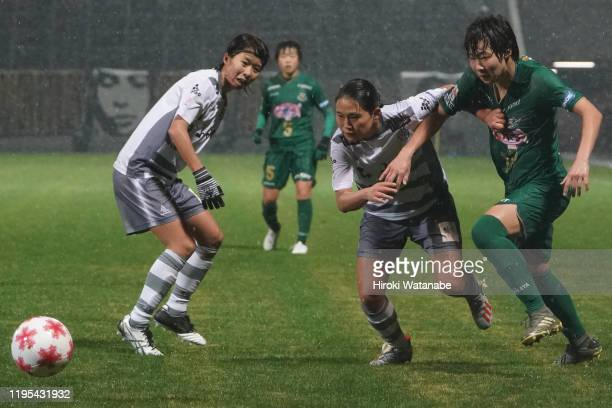 Fuka Nagano of AS Elfen Saitama and Jun Endo of NTV Beleza compete for the ball during the Empress Cup 41st JFA Women's Championship Semi Final...
