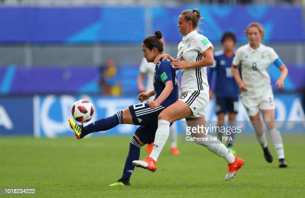 Fuka Nagano of Japan and Klara Buehl of Germany during the FIFA U20 Women's World Cup France 2018 Quarter Final quarter final match between Germany...