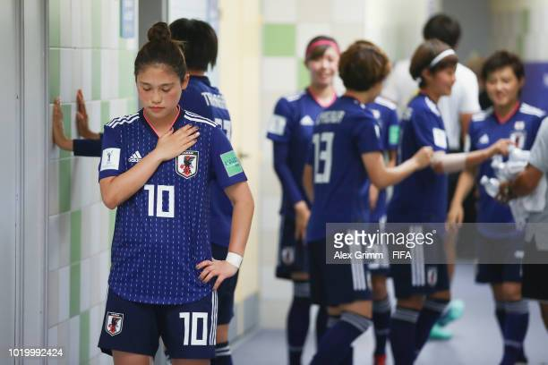 Fuka Nagano of Japan and team mates prepare in the tunnel prior to the FIFA U20 Women's World Cup France 2018 Semi Final semi final match between...