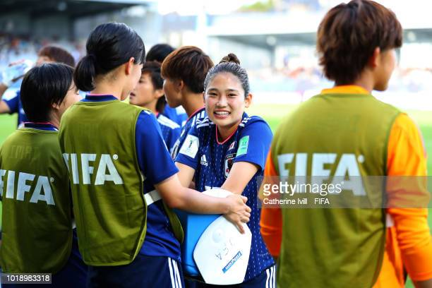 Fuka Nagano of Japan before the FIFA U20 Women's World Cup France 2018 Quarter Final quarter final match between Germany and Japan at Stade de la...