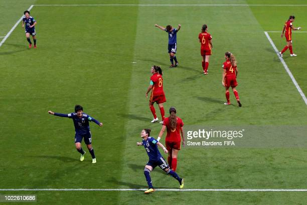 Fuka Nagano of Japan celebrates after scoring her team's third goal during the FIFA U20 Women's World Cup France 2018 Final match between Spain and...