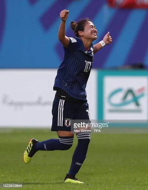 Fuka Nagano of Japan celebrates her team's third goal during the FIFA U20 Women's World Cup France 2018 Final match between Spain and Japan at Stade...