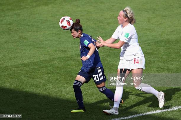 Fuka Nagano of Japan eludes Chloe Peplow of England during the FIFA U20 Women's World Cup France 2018 Semi Final semi final match between England and...