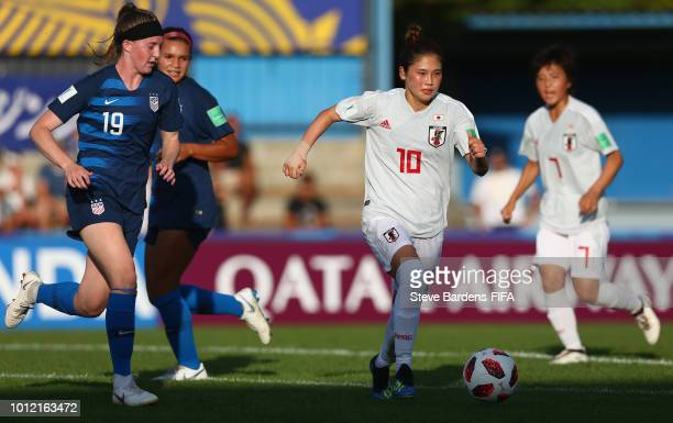 Fuka Nagano of Japan in action during the FIFA U20 Women's World Cup France 2018 group C match between USA and Japan at Stade GuyPiriou on August 6...