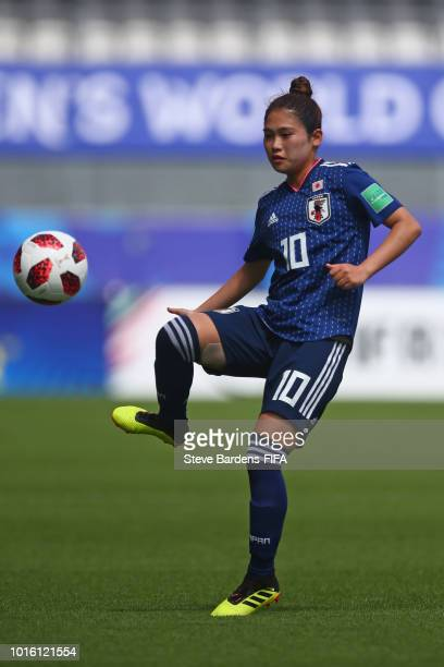 Fuka Nagano of Japan in action during the FIFA U20 Women's World Cup France 2018 group C match between Japan and Paraguay at Stade de la Rabine on...