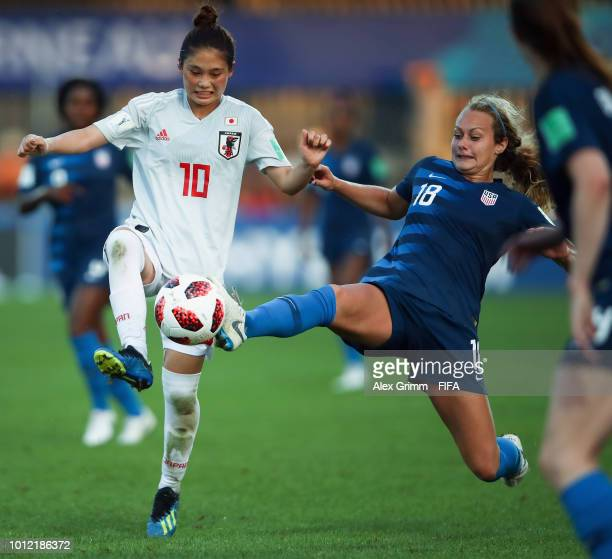 Fuka Nagano of Japan is challenged by Jaelin Howell of the United States during the FIFA U20 Women's World Cup France 2018 group C match between USA...