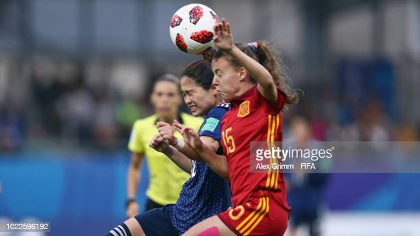 Fuka Nagano of Japan jumps for a header with Candela Andujar of Spain during the FIFA U20 Women's World Cup France 2018 Final match between Spain and...