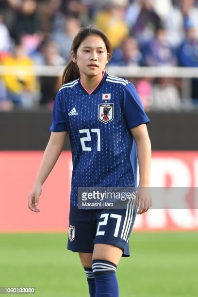 Fuka Nagano of Japan looks on during the international friendly match between Japan and Norway at Torigin Bird Stadium on November 11 2018 in Tottori...