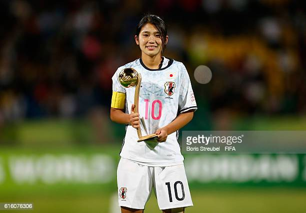 Fuka Nagano of Japan pose with the Golden Adidas Player of the Tournament Trophy after the FIFA U17 Women's World Cup Finale match between Korea DPR...