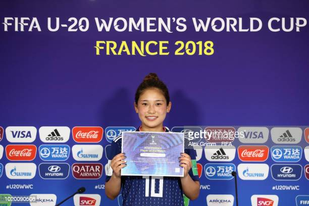 Fuka Nagano of Japan poses for a photo after being awarded 'Player of the match' during the FIFA U20 Women's World Cup France 2018 Semi Final semi...