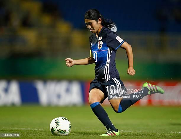 Fuka Nagano of Japan runs with the ball during the FIFA U17 Women's World Cup Quarter Final match between Japan and England at Al Hassan...