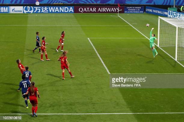 Fuka Nagano of Japan scores her team's third goal during the FIFA U20 Women's World Cup France 2018 Final match between Spain and Japan at Stade de...