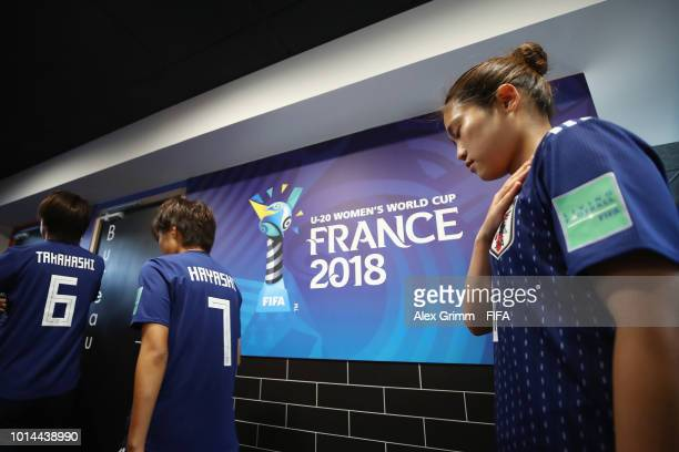 Fuka Nagano of Japan waits in the tunnel prior to the FIFA U20 Women's World Cup France 2018 group C match between Spain and Japan at Stade GuyPiriou...