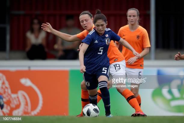 Fuka Nagano of Japan Women U20 Fenna Kalma of Holland Women U20 during the match between Holland Women U20 v Japan Women U20 at the Sportpark Zuid on...