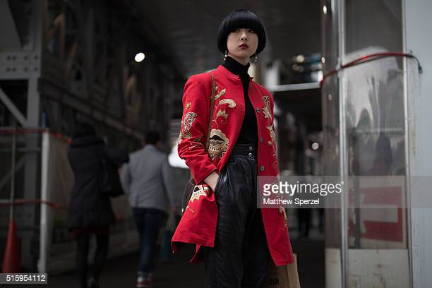 Fuka Shimada attends the Anne Sofie Madsen show during Tokyo Fashion Week on March 16 2016 in Tokyo Japan