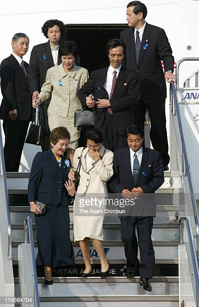 Fukie Hamamoto and Yasushi Chimura Yukiko Okudo Kaoru Hasuike and Hitomi Soga are seen upon arrival accompanied by head of Japanese government office...