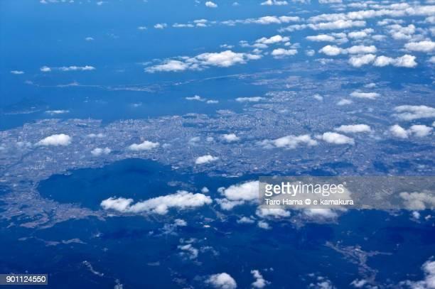 Fukuoka city in Fukuoka prefecture in Japan, daytime aerial view from airplane