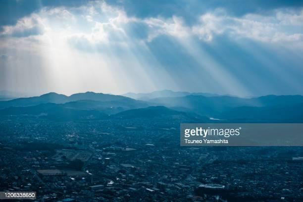 fukuoka city seen from the airplane - paisajes de jamaica fotografías e imágenes de stock