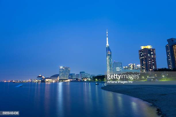 Fukuoka cityscape and beach at night