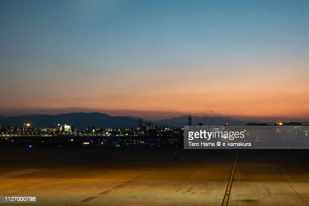 Fukuoka International Airport (FUK) in Japan in the sunset