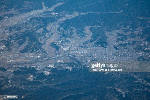 Fukuroi and Kakegawa cities in Shizuoka prefecture in Japan daytime aerial view from airplane