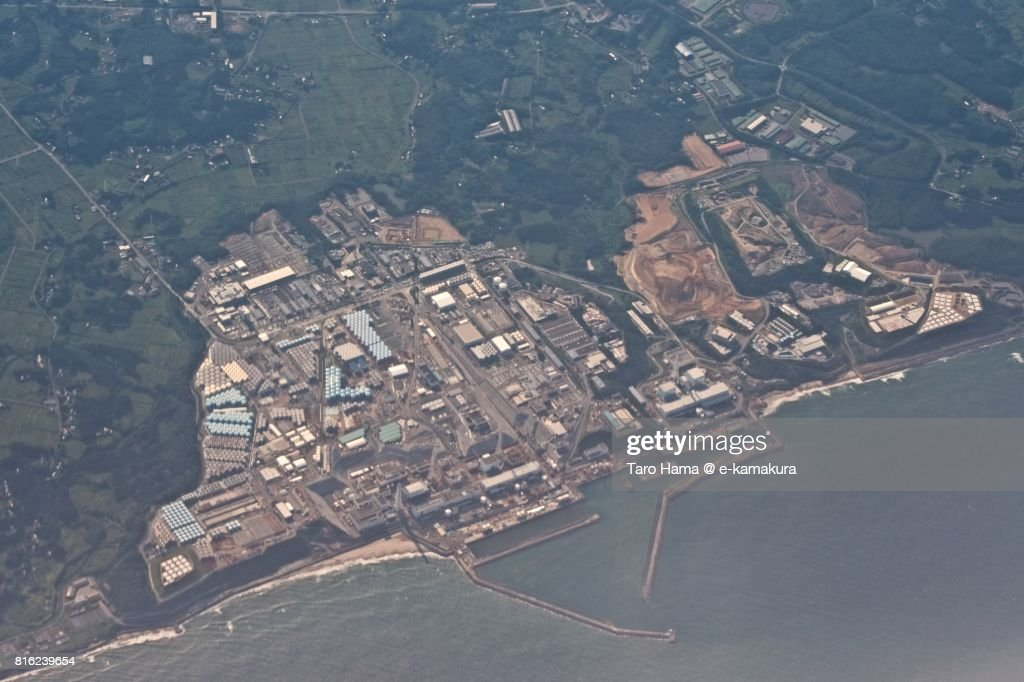 Fukushima Daiichi Nuclear Power Station daytime aerial view from airplane : ストックフォト