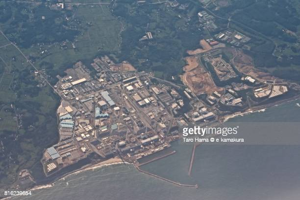 Fukushima Daiichi Nuclear Power Station daytime aerial view from airplane
