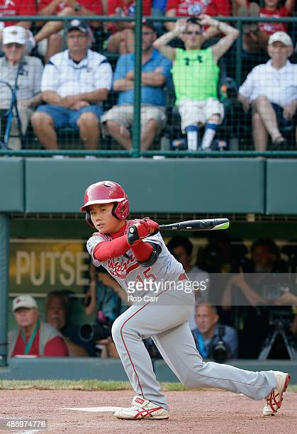 Fukutaro Kiyomiya of team Japan bats against the MidAtlantic team from Red Land Little League of Lewisberry Pennsylvania during the Little League...