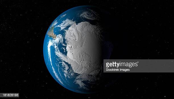 ful earth showing simulated clouds over antarctica. - south pole stock pictures, royalty-free photos & images