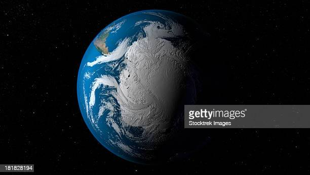 ful earth showing simulated clouds over antarctica. - southern hemisphere stock photos and pictures