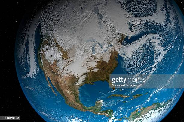 Ful Earth showing simulated clouds over North America. The lighting of this scene is completely artistic and not scientifically accurate.