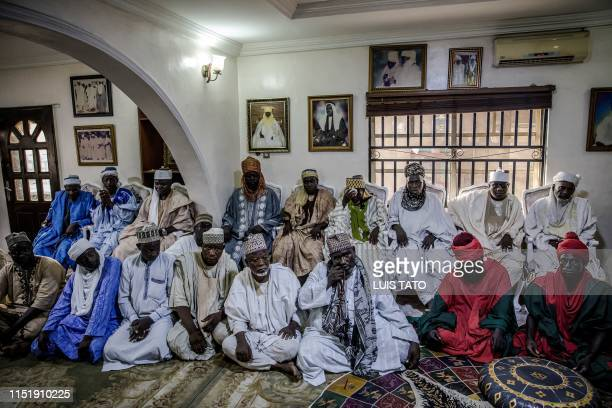 Fulani men attend the assembly in Mohammed Abubakar Bambado the Sarkin Fulani of Lagos' Palace at the district of Surulere in Lagos Nigeria on April...