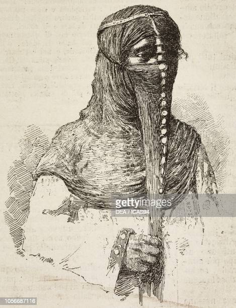Fulani woman with a covered face Port Said Egypt engraving from a drawing by G G Bruno from L'Illustrazione Italiana year 12 no 8 February 22 1885
