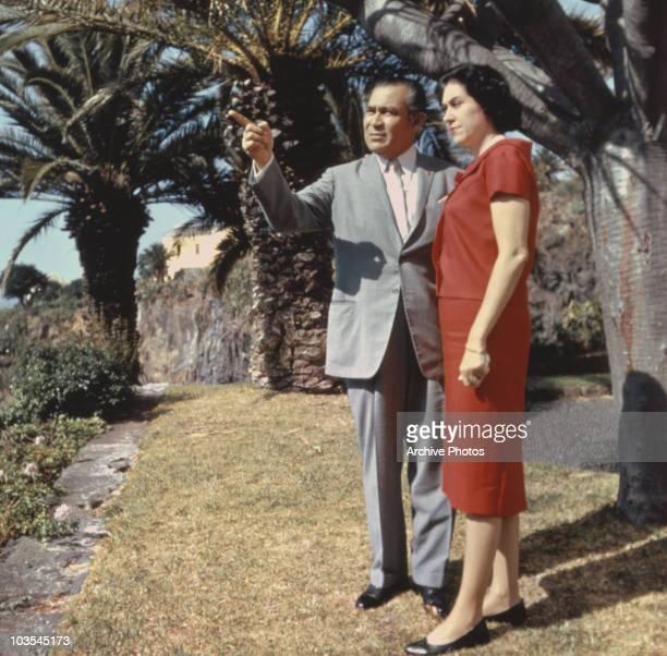 Fulgencio Batista Cuban President dictator and military leader pictured with his wife Marta Fernandez Miranda de Batista September 1959 In 1959...