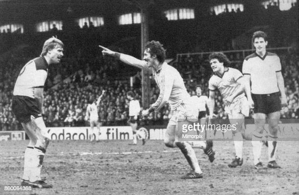 Fulham 22 Newcastle Division Two league match at Craven Cottage Saturday 26th February 1983 Terry McDermott turns away in triumph after scoring...