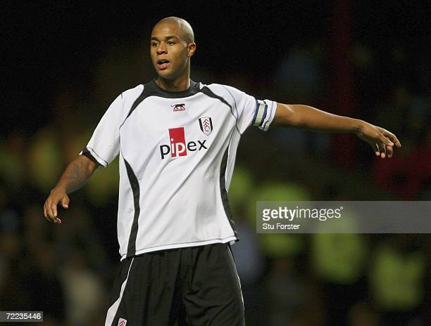 Fulham captain Zat Knight gestures during the Barclays Premiership match between Aston villa and Fulham at Villa Park on October 21 2006 in...