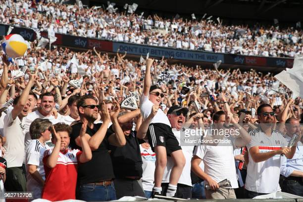 Fulham fans celebrate the opening goal during the Sky Bet Championship Play Off Final between Aston Villa and Fulham at Wembley Stadium on May 26...