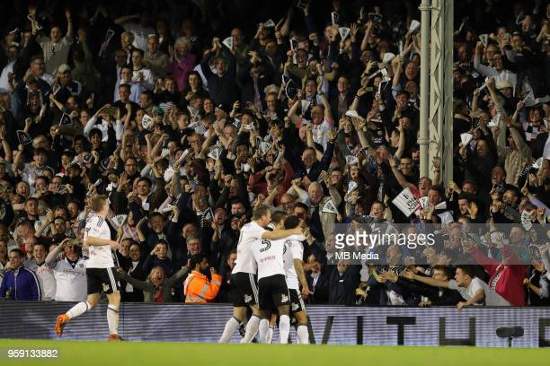 Fulham fans celebrate there teams 2nd goal of the night during the Sky Bet Championship Play Off Semi Final Second Leg on May 14 2018 at Craven...