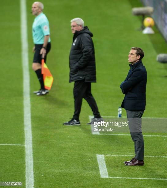 Fulham FC First Team Coach Scott Parker stands sideline during the Premier League match between Newcastle United and Fulham at St. James Park on...