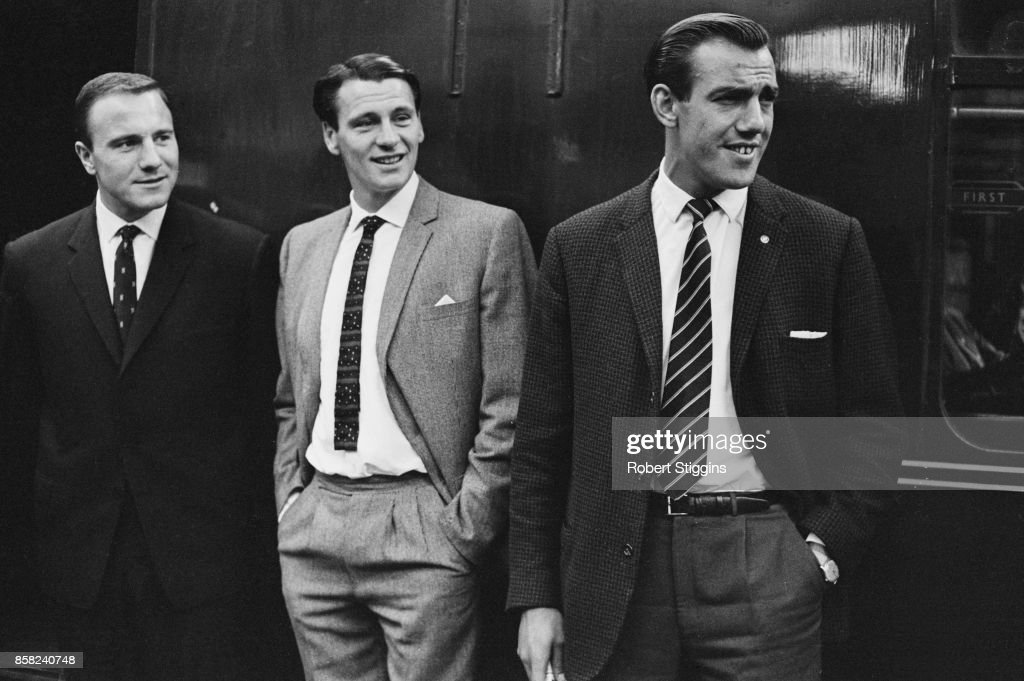 Fulham FC players Tony Macedo, Bobby Robson (1933 - 2009), and George Choen during a formal event, UK, 1st September 1964.