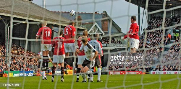 Fulham free kick atmospheric through goal net Fulham v Manchester United at Craven Cottage Premier League 1st October 2005.