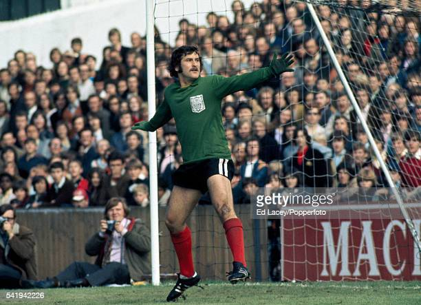 Fulham goalkeeper Malcolm Webster in action during their match against Manchester United at Craven Cottage in London 7th August 1971