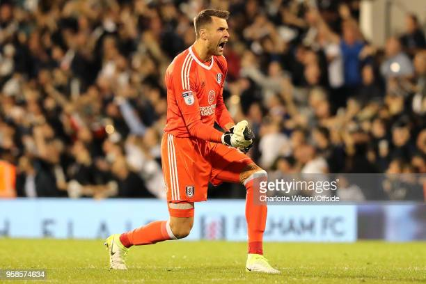 Fulham goalkeeper Marcus Bettinelli celebrates their 2nd goal during the Sky Bet Championship Play Off Semi FinalSecond Leg match between Fulham and...