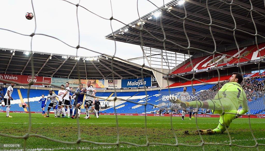 Fulham goalkeeper Marcus Bettinelli is beaten by a free kick from Cardiff striker Anthony Pilkington (2nd left) for the opening goal during the Emirates FA Cup Third Round match between Cardiff City and Fulham at Cardiff City Stadium on January 8, 2017 in Cardiff, Wales.