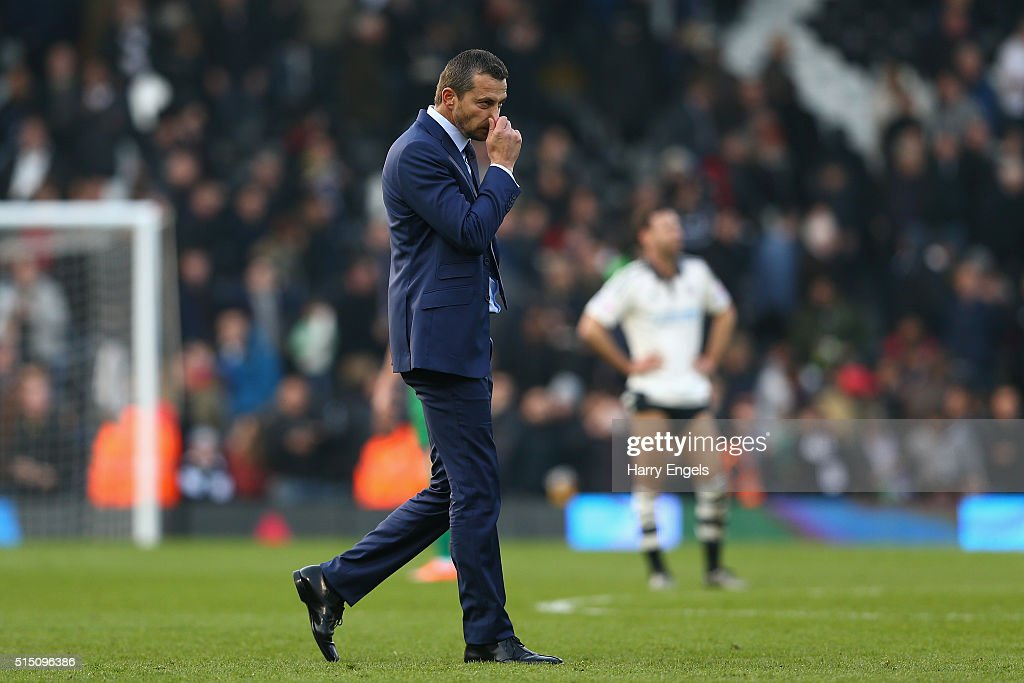 Fulham Head Coach Slavisa Jokanovic walks off dejected at the end of the Sky Bet Championship match between Fulham and Bristol City at Craven Cottage on March 12, 2016 in London, United Kingdom.
