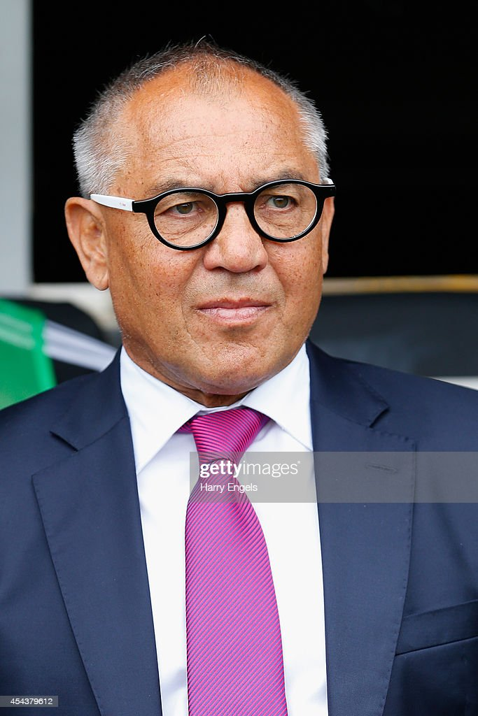 Fulham manager Felix Magath looks on before kick off during the Sky Bet Championship match between Fulham and Cardiff City at Craven Cottage on August 30, 2014 in London, England.