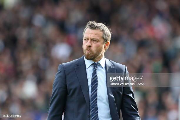 Fulham manager head coach Slavisa Jokanovic during the Premier League match between Fulham FC and Arsenal FC at Craven Cottage on October 7 2018 in...