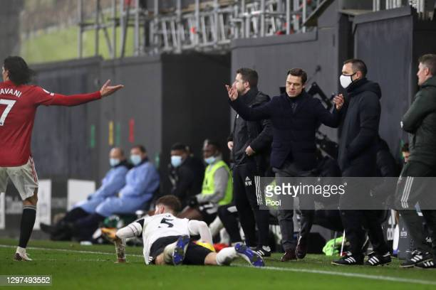Fulham Manager, Scott Parker reacts after a challenge on Joachim Andersen of Fulham during the Premier League match between Fulham and Manchester...