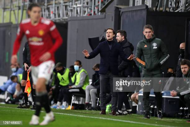 Fulham Manager, Scott Parker reacts during the Premier League match between Fulham and Manchester United at Craven Cottage on January 20, 2021 in...