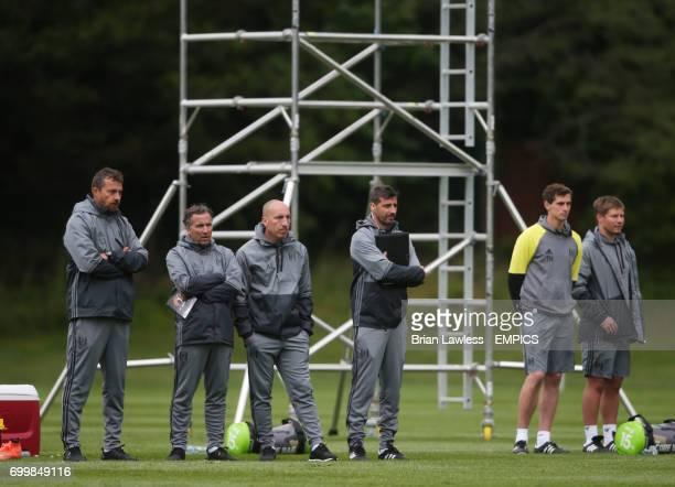 Fulham manager Slavisa Jokanovic and his coaching staff during their preseason friendly against Cobh Ramblers at Fota Island Cork Republic of Ireland